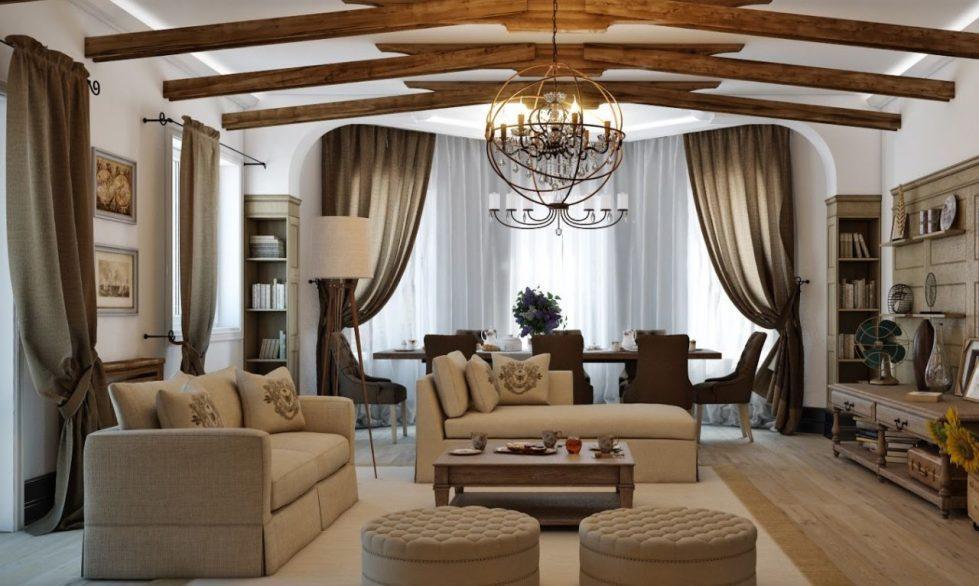 гостиная в стиле кантри фото интерьер
