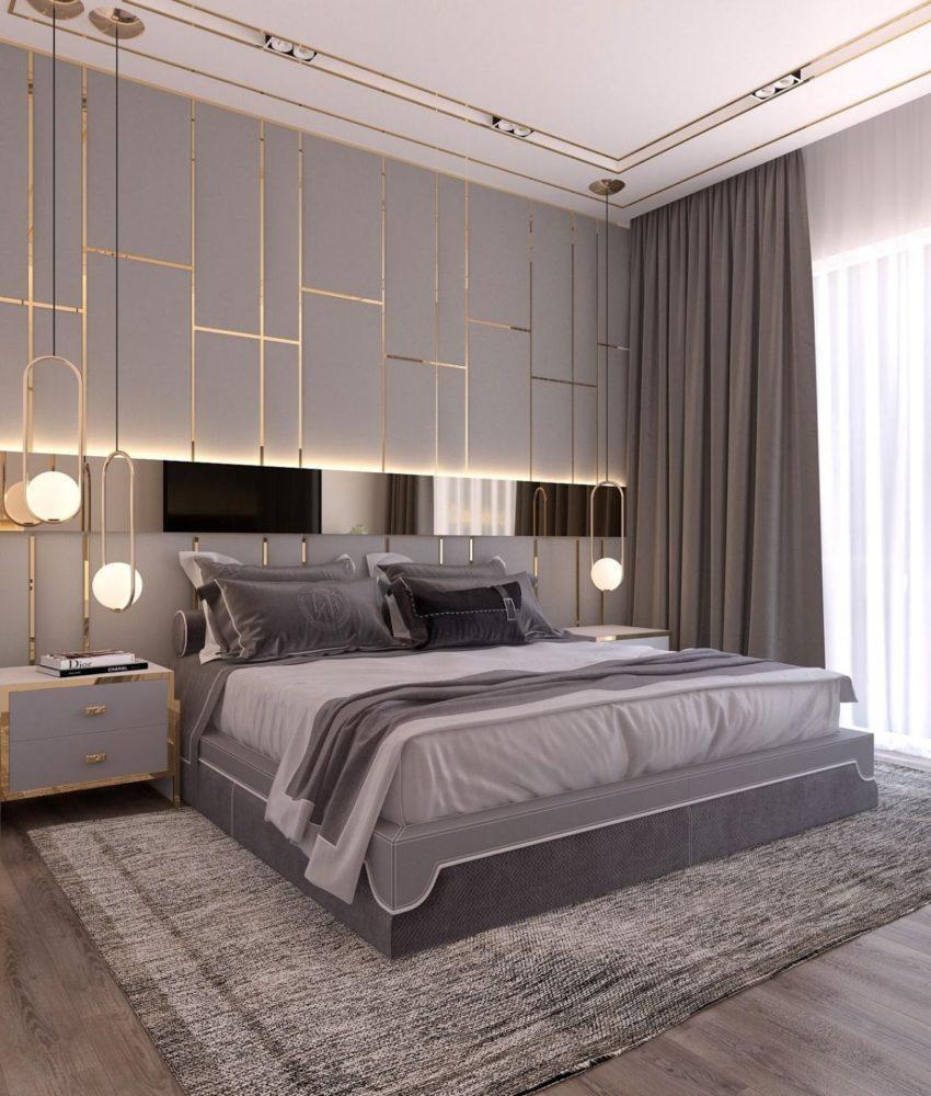Дизайн спальни в серых тонах