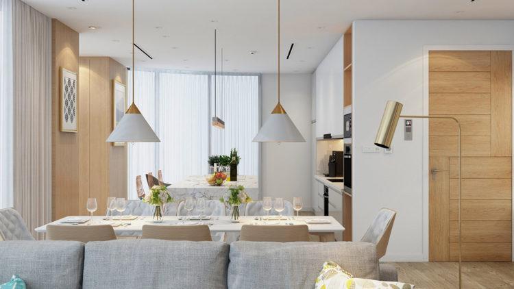 Скандинавский стиль в интерьере кухни с гостинной3