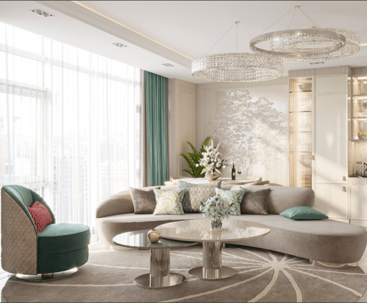 Светлая гостиная в современном стиле 2021-2022