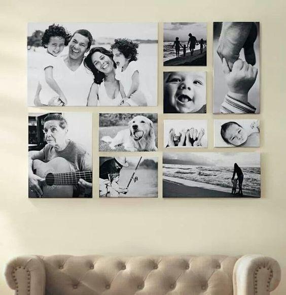 Украшение стены семейными фотографиями